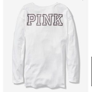 67bc3f1a7 PINK Victoria s Secret Tops - PINK BLING LONG SLEEVE LEGGING TEE ...